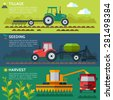 Illustration of the process of growing and harvesting crops. Equipment for agriculture. Vector - stock vector