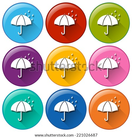 Illustration of the round icons with a rainy weather on a white background