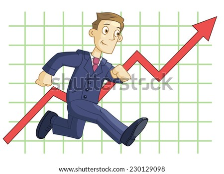 Illustration of the running businessman on the business graph background - stock vector