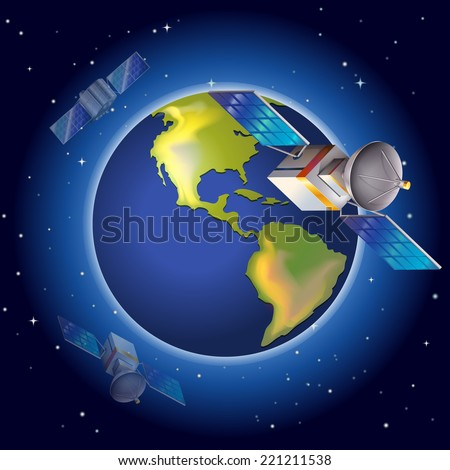 Illustration of the satellites surrounding the planet - stock vector