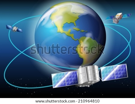 Illustration of the satellites surrounding the planet Earth - stock vector