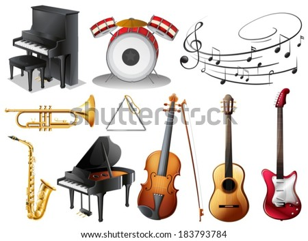 Illustration of the set of musical instruments on a white background - stock vector