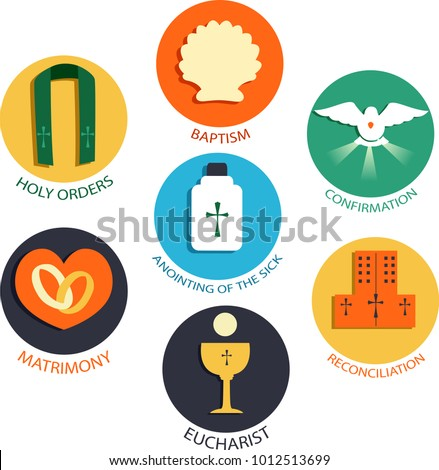 Illustration Seven Sacraments Catholic Church Baptism Stock Vector