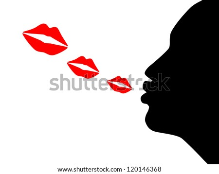 illustration of the silhouette woman blow kiss - stock vector