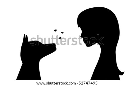 Illustration of the silhouettes of a girl and a dog watching each other