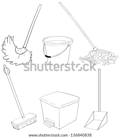 Illustration of the silhouettes of the different cleaning materials - stock vector