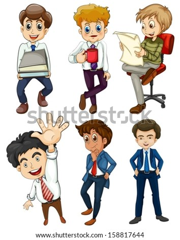 Illustration of the six businessmen on a white background - stock vector