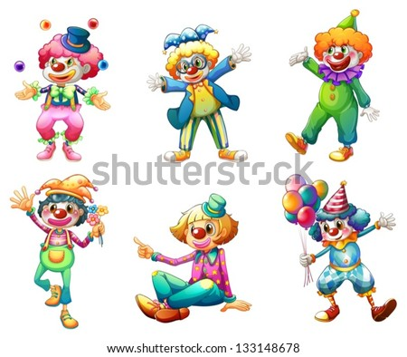 Illustration of the six different clown costumes on a white background - stock vector