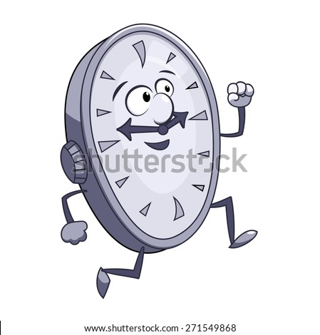 Illustration of the  smiling clock running - stock vector