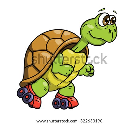 Illustration of the smiling funny turtle on roller skates