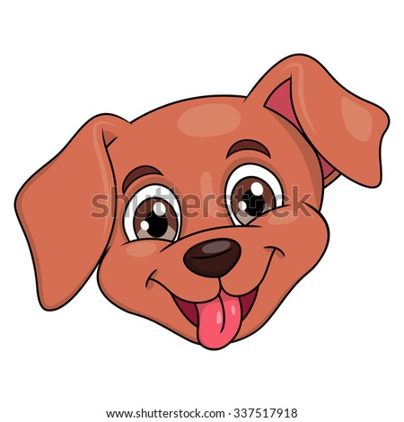 Illustration of the smiling happy cute little puppy head