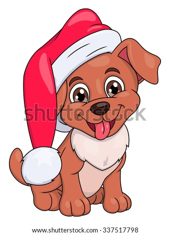 Illustration of the smiling little puppy with Santa hat - stock vector