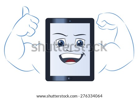 Illustration of the smiling powerful strong tablet computer - stock vector