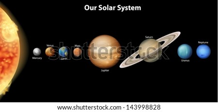 Illustration of the Solar System - stock vector
