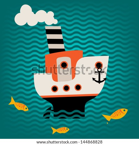 Illustration of the steamer and goldfish - stock vector