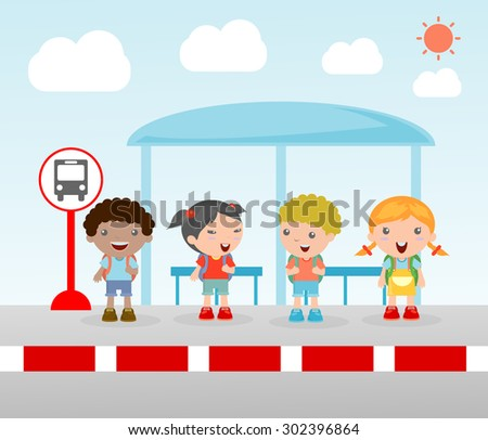 Illustration of the students at the bus stop, A vector illustration of little children waiting at a bus stop, Waiting at Bus Stop, Vector Illustration. - stock vector