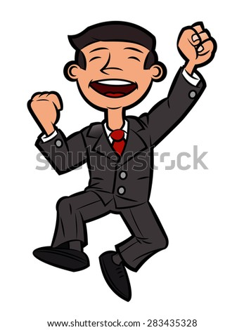 Illustration of the successful happy businessman jumping up for joy - stock vector