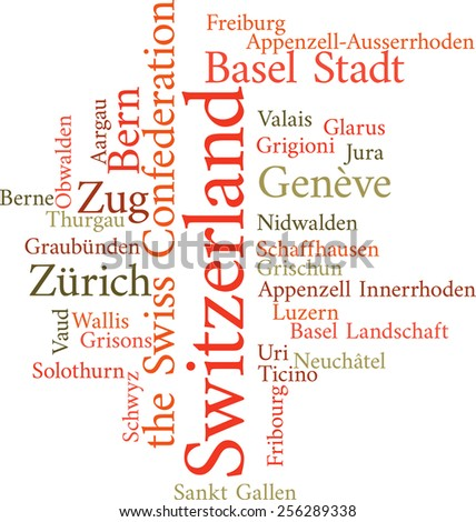 Illustration of the Swiss Cantons in word clouds isolated on white background