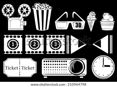 Illustration of the things related to movies on a black background - stock vector