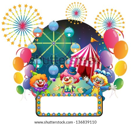 Illustration of the three clowns in front of a carnival with an empty signage on a white background - stock vector