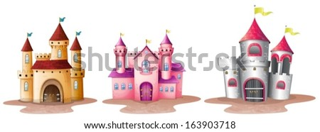 Illustration of the three different castles on a white background - stock vector