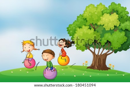 Illustration of the three kids at the hilltop playing with the bouncing balls - stock vector