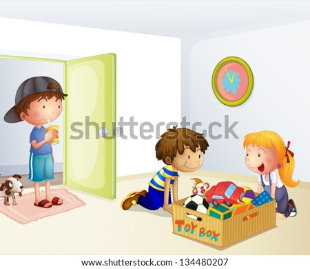 Illustration of the three kids inside the house with a box of toys
