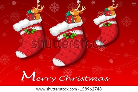Illustration of the three red christmas stockings - stock vector