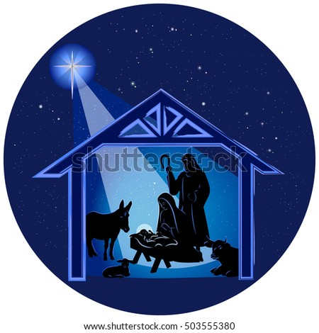 Illustration of the traditional Christmas nativity scene, with Baby Jesus in the manger, with Mary and Joseph and animals in highlighted black silhouettes, on a dark blue starry background.