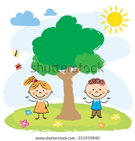 Illustration of the two adorable little kids playing at the hilltop near the tree - stock vector