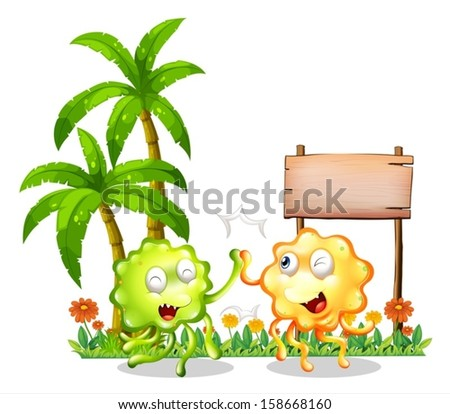 Illustration of the two bestfriends in front of the empty wooden signboard on a white background - stock vector