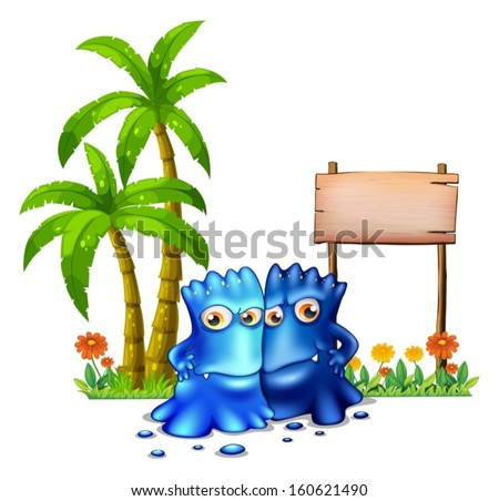 Illustration of the two blue monsters standing in front of the empty board on a white background - stock vector