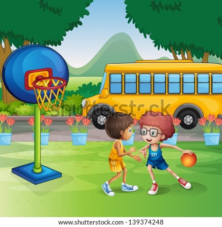 Illustration of the two boys playing basketball near the school bus - stock vector