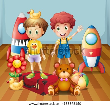 Illustration of the two boys surrounded with toys - stock vector