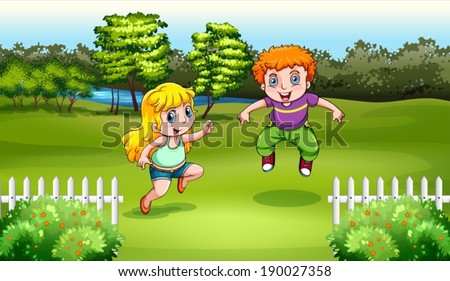 Illustration of the two Caucasian kids dancing - stock vector