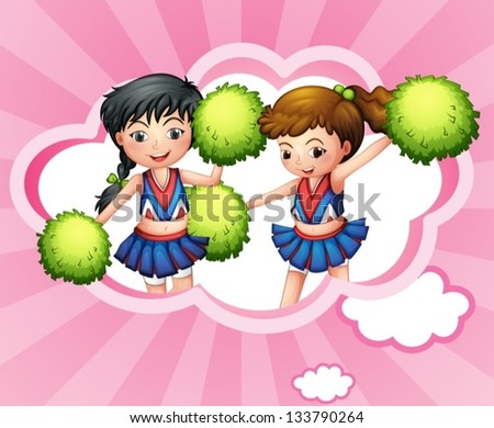 Illustration of the two cheerers inside a cloud - stock vector