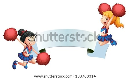 Illustration of the two cheerleaders with a signage on a white background - stock vector