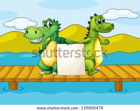 Illustration of the two crocodiles holding an empty board - stock vector
