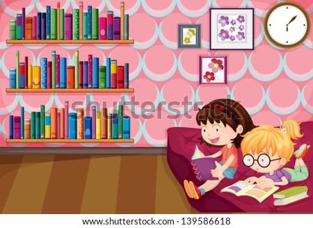 Illustration of the two girls reading inside the house - stock vector