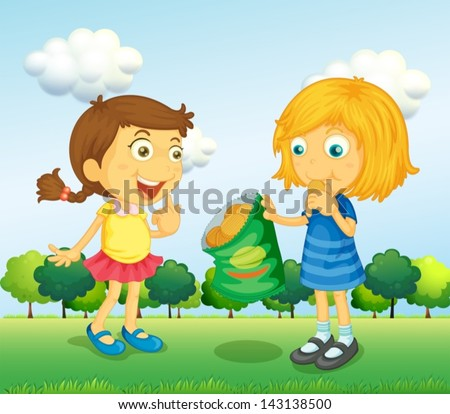 Illustration of the two girls talking with junkfoods - stock vector