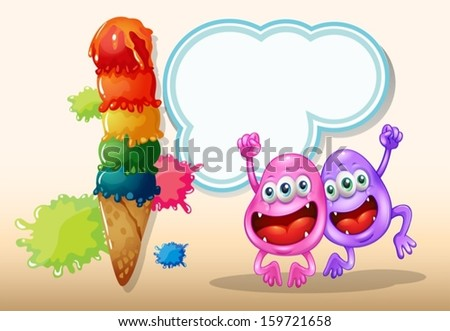 Illustration of the two happy monsters jumping near the giant icecream - stock vector