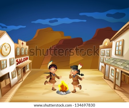 Illustration of the two Indian girls dancing around the fire - stock vector