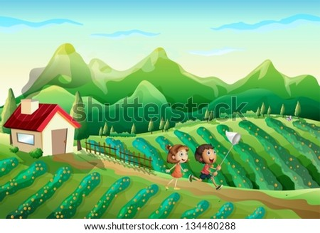 Illustration of the two kids catching butterflies at the farm - stock vector