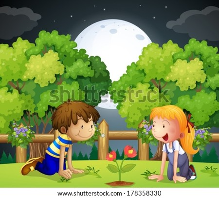 Illustration of the two kids watching the growing plant - stock vector