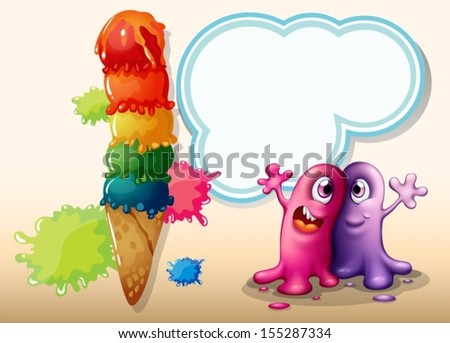 Illustration of the two monsters near the giant ice cream - stock vector