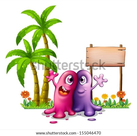 Illustration of the two monsters near the palm trees on a white background - stock vector