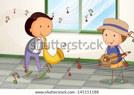 Illustration of the two musicians playing near the window - stock vector