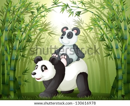 Illustration of the two pandas inside the bamboo forest - stock vector