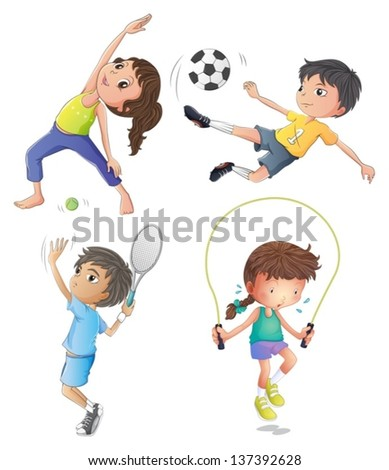 Illustration of the two young girls exercising and two young boys playing on a white background - stock vector
