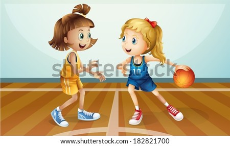 Illustration of the two young ladies playing basketball - stock vector
